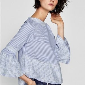 Zara women's blue striped bell sleeve shirt